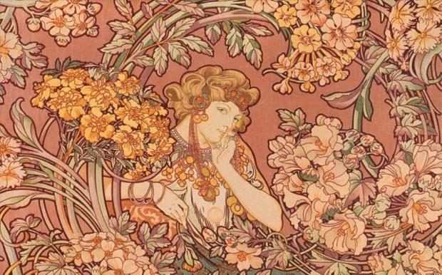 alphonse-mucha-redhead-among-flowers-art-nouveau-artwork